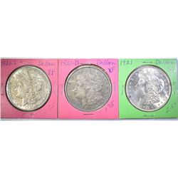 1921-P-D-S MORGAN DOLLARS IN OLD 2x2 COIN HOLDERS