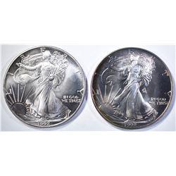 2-1992 BU AMERICAN SILVER EAGLES