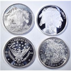 4-DIFFERENT ONE OUNCE .999 SILVER BARS