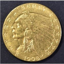 1908 $2.50 GOLD INDIAN, CH BU