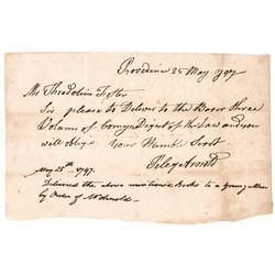 1797 PELEG ARNOLD Signed (1751-1820) Rhode Island Autograph Document