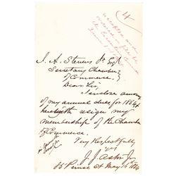 1864-Date Civil War period General JOHN JACOB ASTOR JR. Autograph Letter Signed