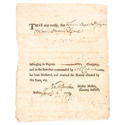 1778 Revolutionary War Nathaniel Barber Signed, Ex: Boston Tea Party Participant