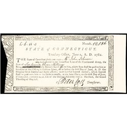 1782 Revolutionary War Connecticut Treasury Certificate for Service in the Continental Army
