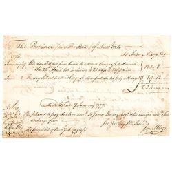 1777 Rare Continental Congress Members Salary! Signed JOHN ALSOP + JAMES DUANE