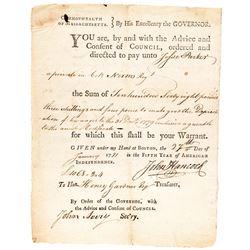 1781 JOHN HANCOCK Signed Revolutionary War Soldiers Pay for DEPRECIATION Form