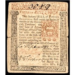 Signer FRANCIS HOPKINSON Signed Colonial Currency, March 20, 1771, PA. Note