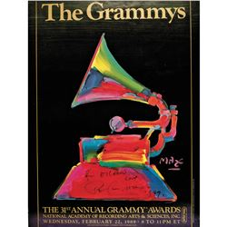 Outstanding Colorful PETER MAX Signed 1989 Grammy Awards Poster