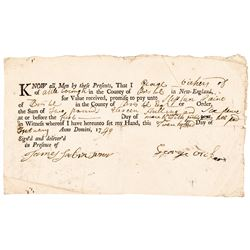 Rare JAMES SABIN JR. (1696-1786) Witness Signed 1749 Payment Receipt