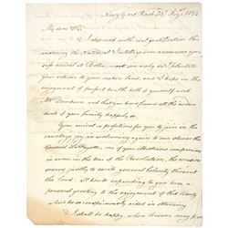 1824 Letter: The Return of the Marquis de Lafayette to the United States