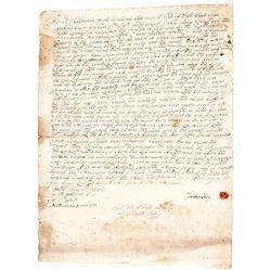 1707 New York Land Sale Document Signed by Founders of Rye, New York