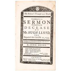 1735 John Brines Sermon Titled: The Believers Triumph Over Death... Hugh Lloyd