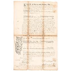 1757 Mass. Document 2 Pence Embossed Stamp Act Codfish Vignette, Scott Cat. RM-2