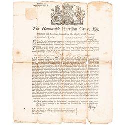 1763 Massachusetts-Bay Broadside Tax Warrant Signed by Harrison Gray, Treasurer