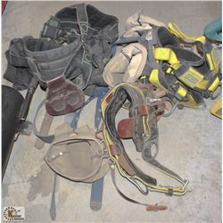 LOT OF 2 HARNESSES WITH TOOL POUCHES & TOOL BELT