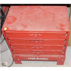 RED METAL 4 DRAWER GRAY TOOLS PARTS ORGANIZER ON