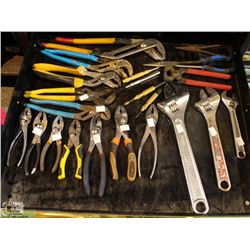 LOT OF ASSORTED CRESCENT AND PLIERS