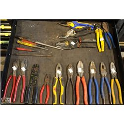 ASSORTED PLIERS, TIN SNIPS , METAL PUNCHES & WIRE
