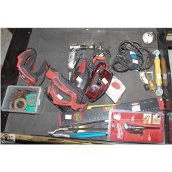 DRAWER CONTENTS, PNEUMATIC GRINDER,LEVELS,SAFETY