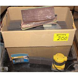 BOX OF SANDING SPONGES & DEWALT PALM SANDER