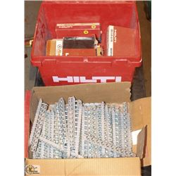 HILTI TOTE OF ASSORTED NAILS, LOAD STRIPS SOLD W/