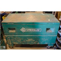 GREENLEE METAL FLIP TOP STORAGE BIN ON CASTORS