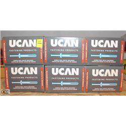 """6 BOXES OF UCAN 1/4"""" X 2"""" NAIL DRIVE ANCHORS"""