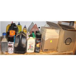 LOT OF ASSORTED OILS, PAINTS, ADHESIVES, CHALK &