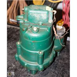 ZOELLER CO. SUBMERSIBLE SUMP PUMP, AS IS