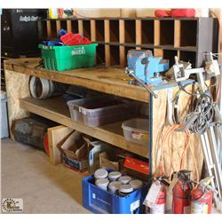 LARGE WOODEN WORK BENCH W/ BUILT IN STORAGE