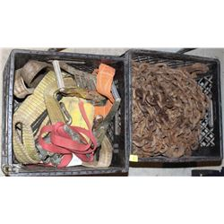 CRATE OF ASSORTED GAUGE CHAINS & TOTE OF ASSORTED