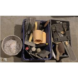 2 CRATES OF ASSORTED CONCRETE LEVELING TOOLS