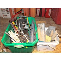 BIN OF ASSORTED HAND SAWS W/ PAIL OF TROWELS