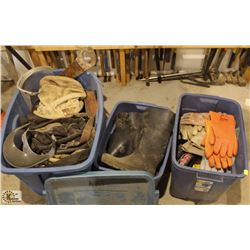 3 TOTES OF ASSORTED TOOL BAGS, HARDHATS,