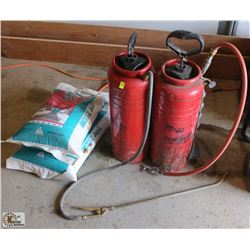 LOT OF 2 CONCRETE SPRAYERS & 2 BAGS OF MELTZ ALL