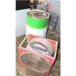 COMMERCIAL ELECTRIC FAN, METAL BARREL & PUMP