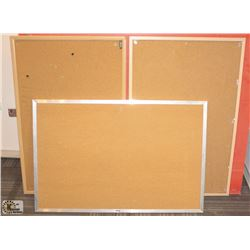 3 ASSORTED SIZE OFFICE CORKBOARDS