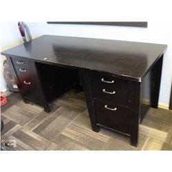 DOUBLE PEDESTAL BLACK WOOD DESK W/ SIDE CABINET