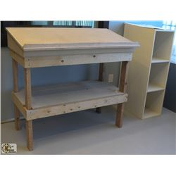 WOODEN DRAFTING TABLE W/ WOODEN SHELVING