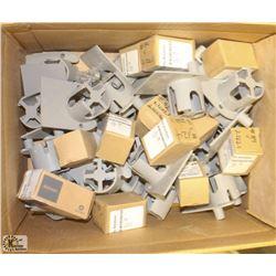 BOX OF COMMERCIAL DEADBOLT TUMBLERS & DOOR