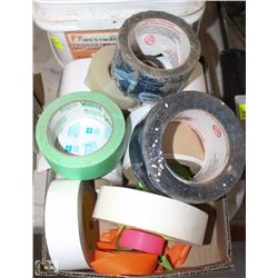 BOX OF ASSORTED TAPES & SANDING BLOCKS