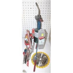 ASSORTED TOOL, BITS, HOLE SAW, PROPANE TORCH