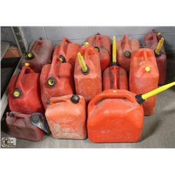 13 RED JERRY CANS