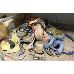 LOT OF ASSORTED RATCHET STRAPS & LANYARD
