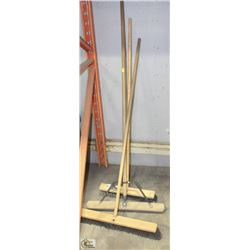 LOT OF 3 SHOP BROOMS