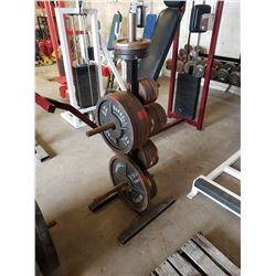 RACK OF ASSORTED WEIGHT PLATES