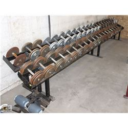 LOT OF ASSORTED SIZE DUMBBELLS W/ RACK