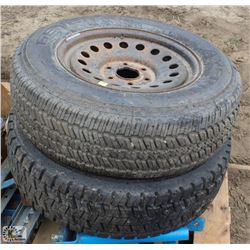 2 ASSORTED TIRES ON RIMS