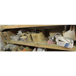 SHELF OF ASSORTED FAUCET, ELECTRIC, BREAKERS &