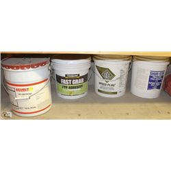3 PAILS OF ASSORTED ADHESIVES & 1 PAIL OF QUICK